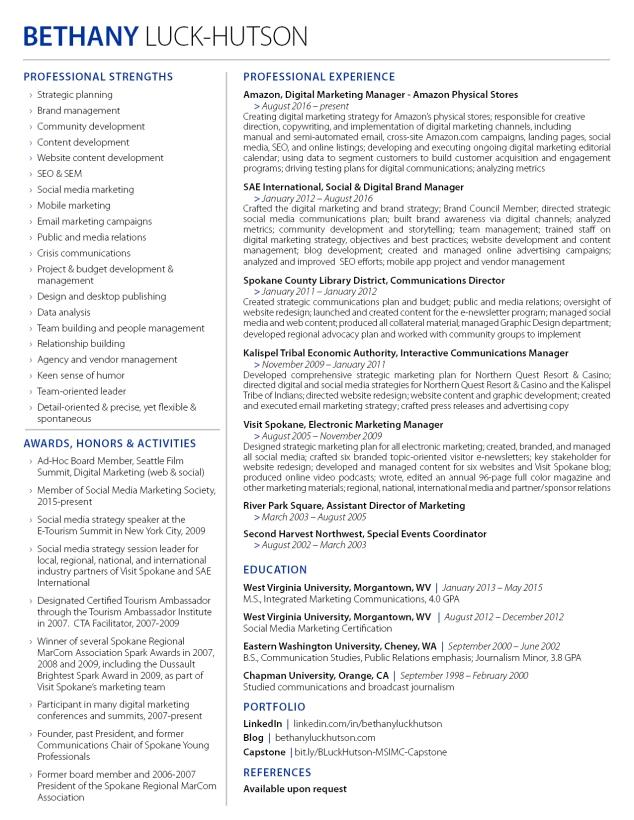 Bethany Luck-Hutson's resume
